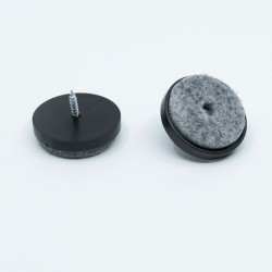 Felt Chair Pads in Plastic, Screw-On, Round Shape